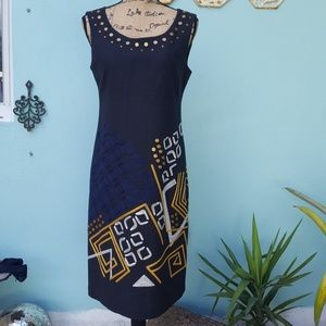 DKNY studded embroidered wool shift dress.